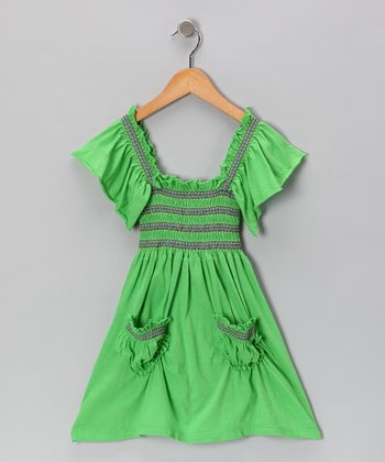 Lime Stitch Peasant Dress - Toddler & Girls