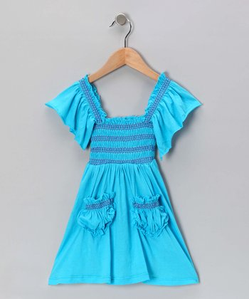 Turquoise Stitch Peasant Dress - Toddler & Girls