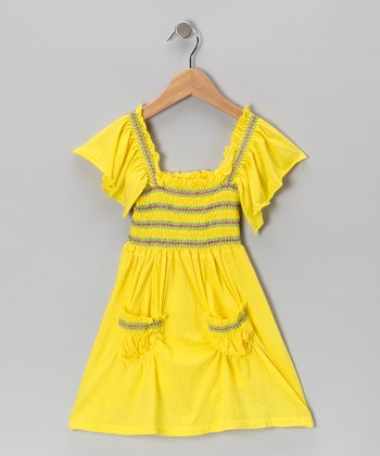 Yellow Stitch Peasant Dress - Toddler & Girls