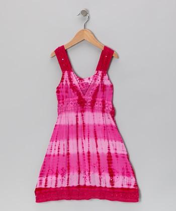 Raya Sun Hibiscus Dip-Dye Sequin Dress - Toddler