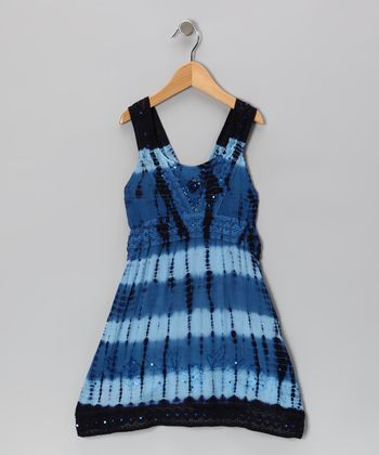 Navy Dip-Dye Sequin Dress - Toddler & Girls