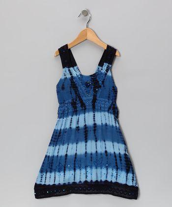 Raya Sun Navy Dip-Dye Sequin Dress - Toddler