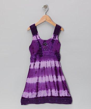 Raya Sun Jewel Trim Barre Dye Dress - Toddler