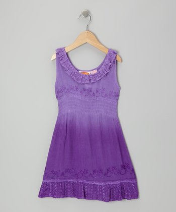 Purple Dip-Dye Ruffle Dress - Toddler & Girls