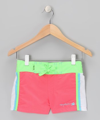 Coral Color Block Drawstring Shorts - Girls