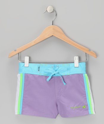 Purple Color Block Drawstring Shorts - Girls