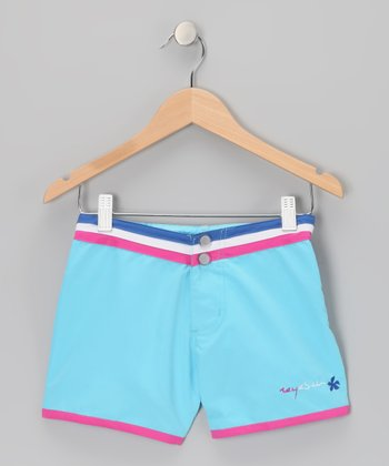 Blue Stripe-Waist Shorts - Girls