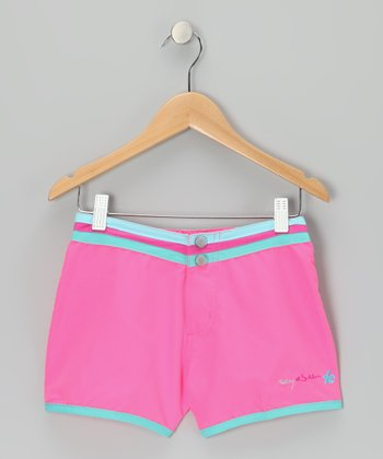 Bubble Gum Stripe-Waist Shorts - Girls