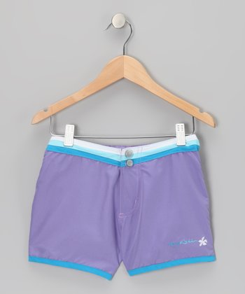 Purple Stripe-Waist Shorts - Girls
