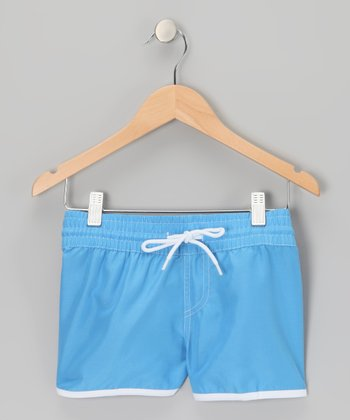 Blue Stitch-Waist Drawstring Shorts - Girls
