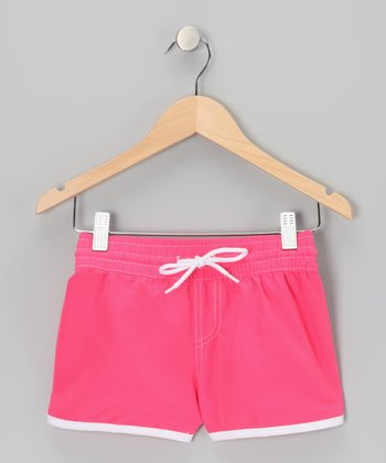 Coral Stitch-Waist Drawstring Shorts - Girls