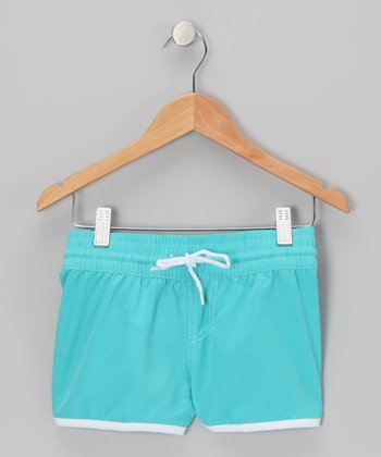 Aqua Stitch-Waist Drawstring Shorts - Girls