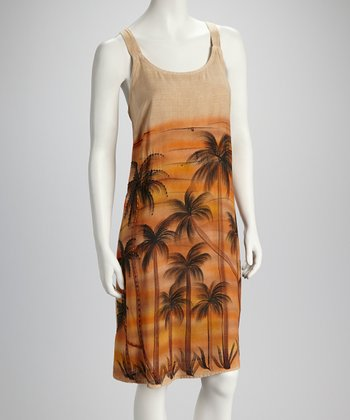 Fawn Sunset Palm Dress