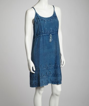 Indigo Embroidered Dress