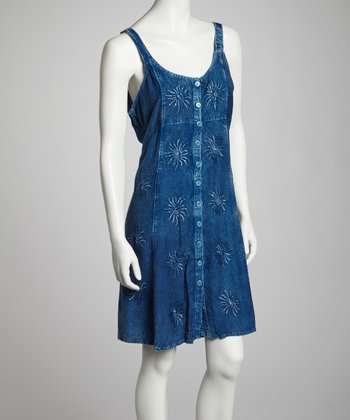 Indigo Embroidered Button-Up Dress