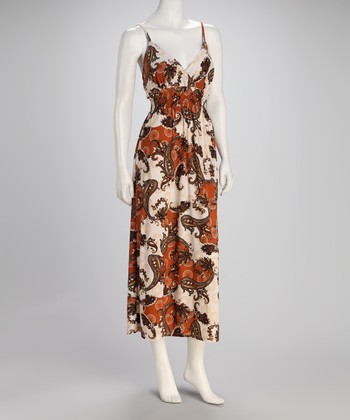 White & Brown Paisley Shirred Maxi Dress