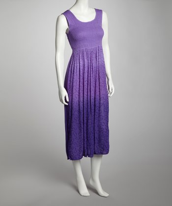 Lavender & Purple Ombré Shirred Sleeveless Dress
