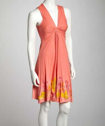 Coral Floral Knotted Sleeveless Dress