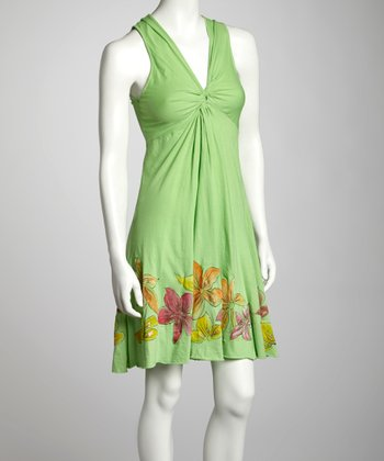 Lime Floral Knotted Sleeveless Dress