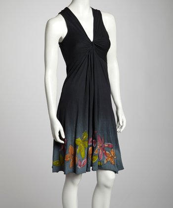 Black Floral Knotted Sleeveless Dress