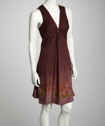 Chocolate Floral Knotted Sleeveless Dress