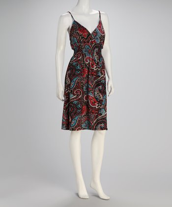 Black & Burgundy Paisley Surplice Dress