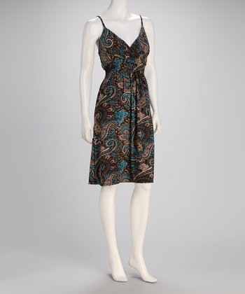 Brown & Turquoise Paisley Surplice Dress