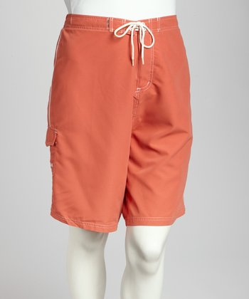 Coral & White Piping Plus-Size Boardshorts