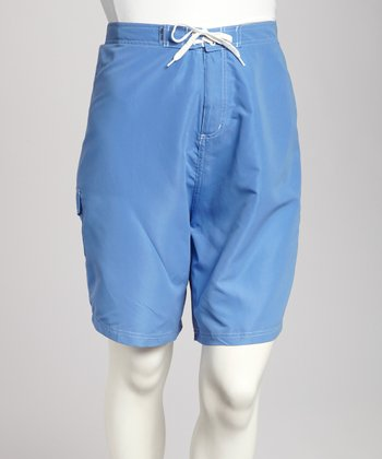 Periwinkle & White Piping Plus-Size Boardshorts