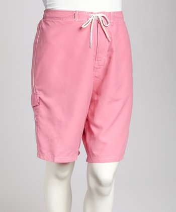 Pink & White Piping Plus-Size Boardshorts