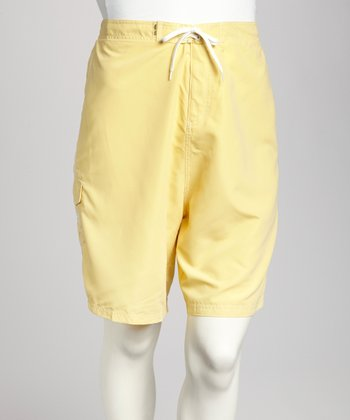 Yellow & White Piping Plus-Size Boardshorts