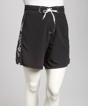 Black Floral Plus-Size Boardshorts