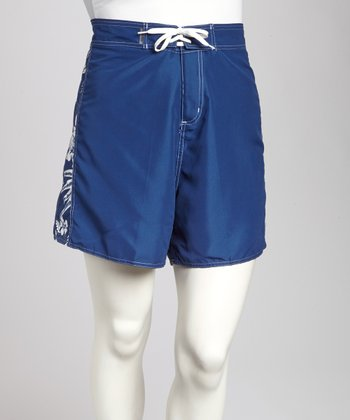Navy Floral Plus-Size Boardshorts