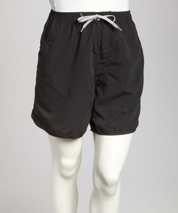 Black Pocketed Plus-Size Boardshorts