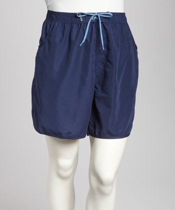 Navy Pocketed Plus-Size Boardshorts