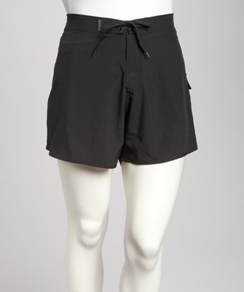 Black Stretch Plus-Size Midi Boardshorts