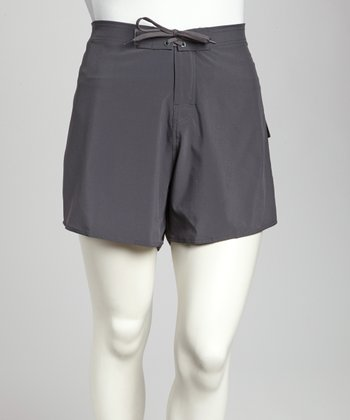 Gray Stretch Plus-Size Midi Boardshorts