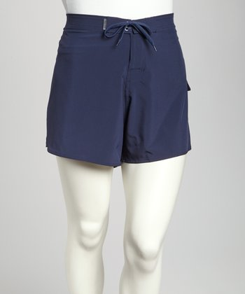 Navy Stretch Plus-Size Midi Boardshorts