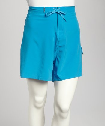 Turquoise Stretch Plus-Size Midi Boardshorts