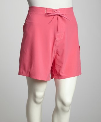 Watermelon Stretch Plus-Size Midi Boardshorts