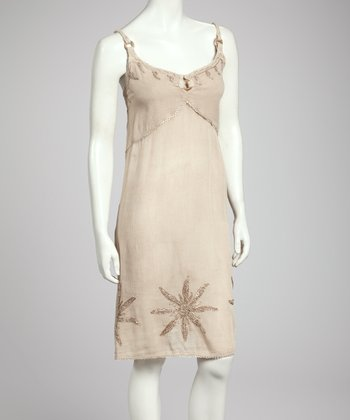Champagne Embroidered Shift Dress