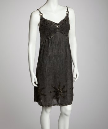 Charcoal Embroidered Shift Dress