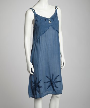 Indigo Embroidered Shift Dress