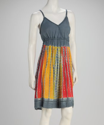 Gray Earth Tie-Dye Empire-Waist Dress