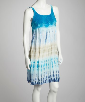 Lime & Turquoise Tie-Dye Crocheted Empire-Waist Dress