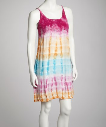 Yellow & Fuchsia Tie-Dye Crocheted Empire-Waist Dress