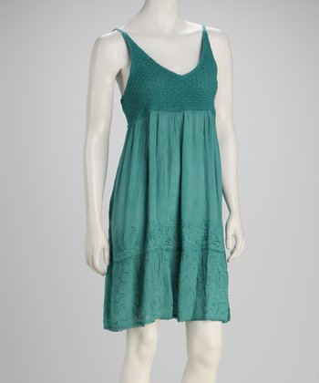 Peacock Green Crochet Dress