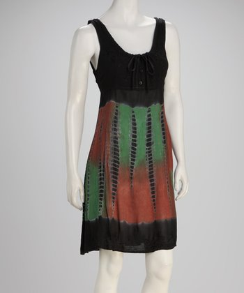 Black Tie-Dye Empire-Waist Dress - Women