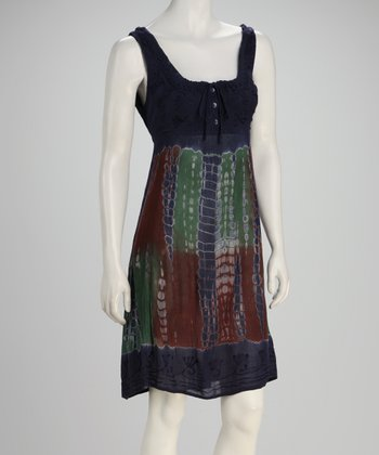 Navy Tie-Dye Empire-Waist Dress - Women