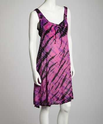 Fuchsia & Purple Tie-Dye Embroidered Shift Dress